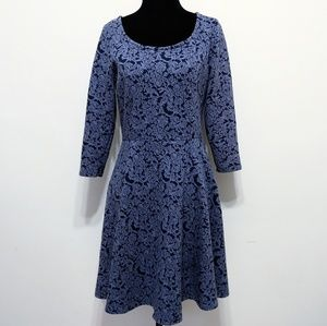 LC Lauren Conrad blue damask print knit dress